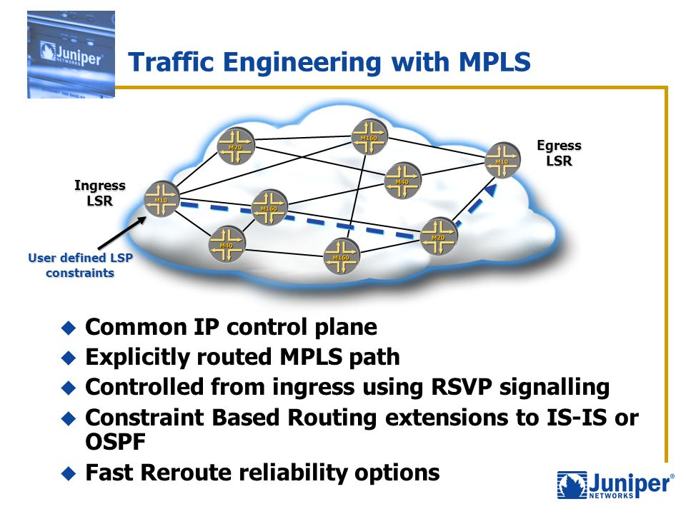 Traffic Engineering with MPLS Ingress LSR Egress LSR Common IP control plane Explicitly routed MPLS path Controlled from ingress using RSVP signalling