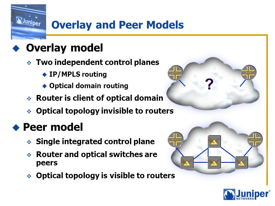 Overlay and Peer Models Overlay model Two independent control planes IP/MPLS routing Optical domain routing Router is client of optical domain Optical