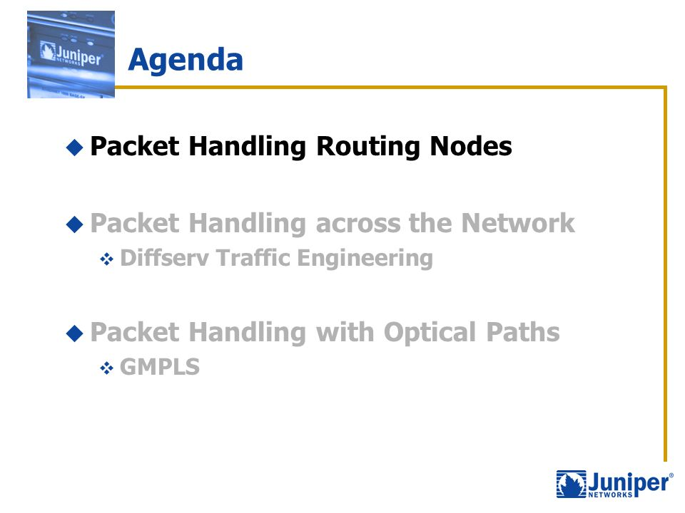 Agenda Packet Handling Routing Nodes Packet Handling across the Network Diffserv Traffic Engineering Packet Handling with Optical Paths GMPLS