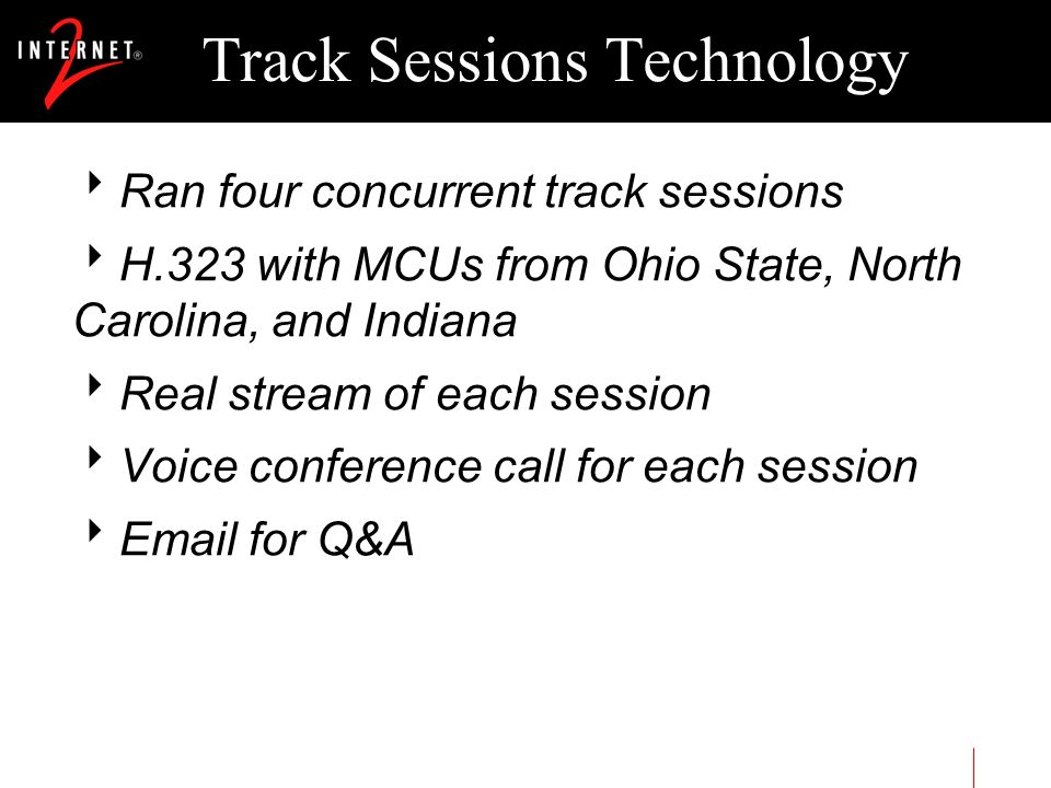 Track Sessions Technology Ran four concurrent track sessions H.323 with MCUs from Ohio State, North Carolina, and Indiana Real stream of each session
