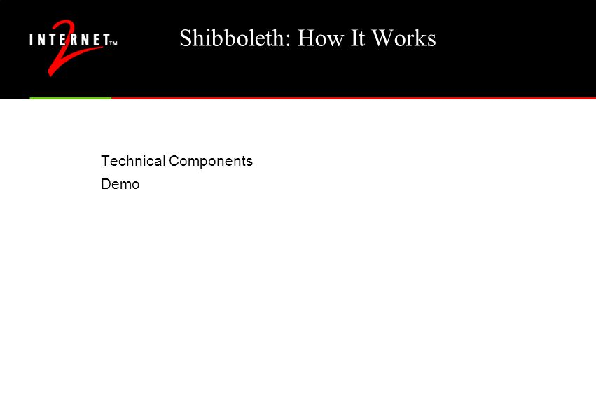 Shibboleth: How It Works Technical Components Demo
