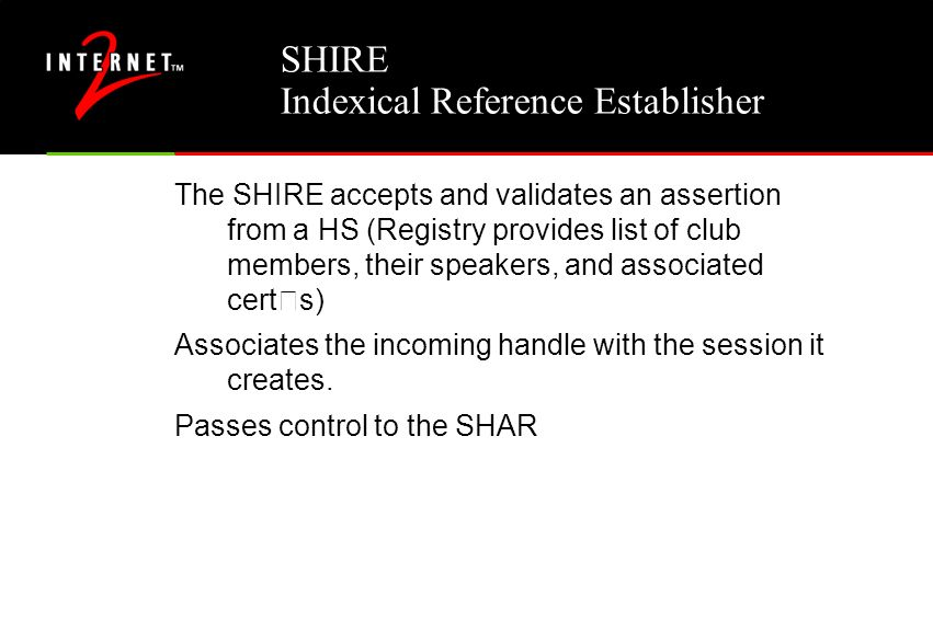 SHIRE Indexical Reference Establisher The SHIRE accepts and validates an assertion from a HS (Registry provides list of club members, their speakers,
