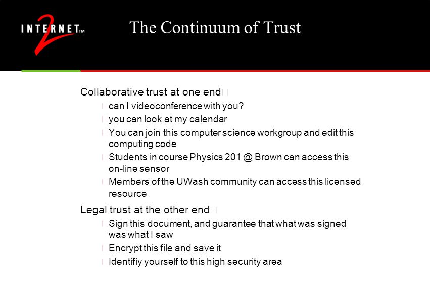 The Continuum of Trust Collaborative trust at one end… •can I videoconference with you? •you can look at my calendar •You can join this computer scien