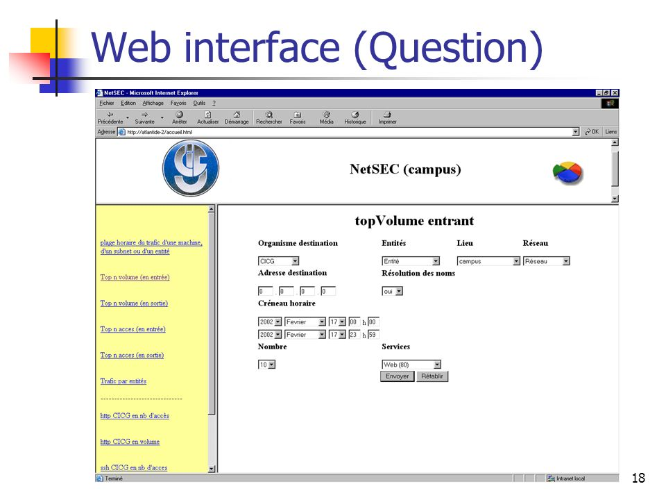 18 Web interface (Question)