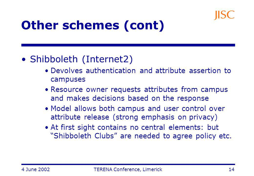 4 June 2002 TERENA Conference, Limerick 14 Other schemes (cont) Shibboleth (Internet2) Devolves authentication and attribute assertion to campuses Resource owner requests attributes from campus and makes decisions based on the response Model allows both campus and user control over attribute release (strong emphasis on privacy) At first sight contains no central elements: but Shibboleth Clubs are needed to agree policy etc.