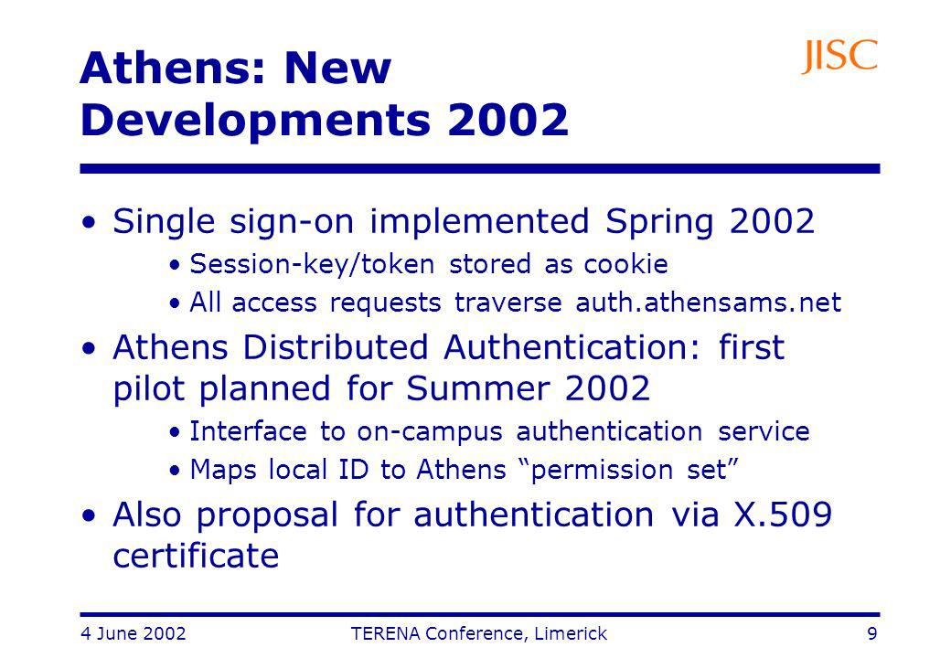 4 June 2002 TERENA Conference, Limerick 9 Athens: New Developments 2002 Single sign-on implemented Spring 2002 Session-key/token stored as cookie All