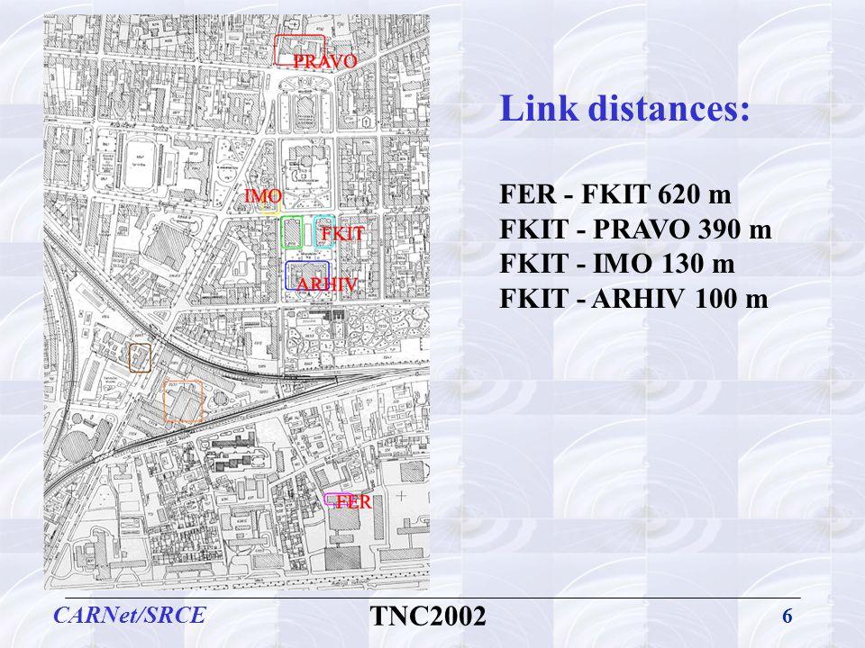 6 CARNet/SRCE TNC2002 Link distances: FER - FKIT 620 m FKIT - PRAVO 390 m FKIT - IMO 130 m FKIT - ARHIV 100 m