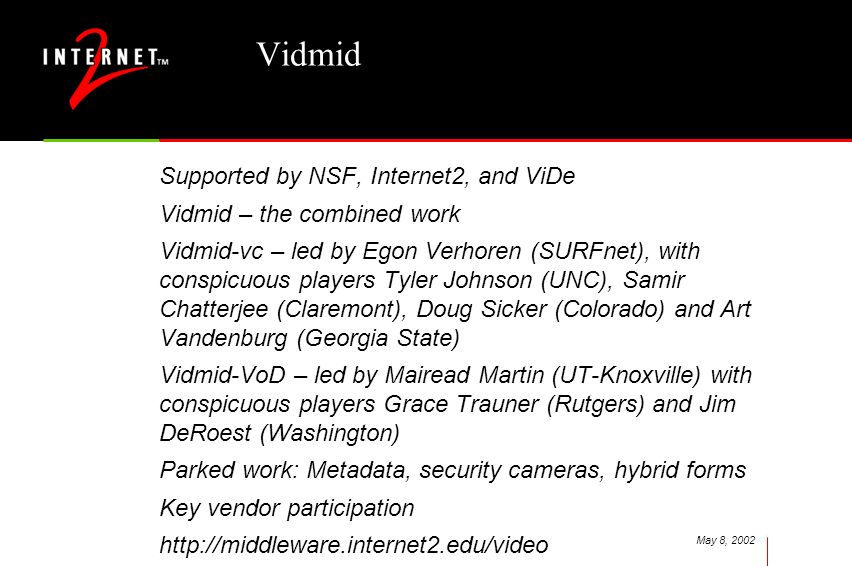May 8, 2002 Vidmid Supported by NSF, Internet2, and ViDe Vidmid – the combined work Vidmid-vc – led by Egon Verhoren (SURFnet), with conspicuous playe