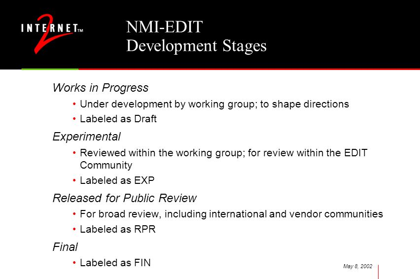 May 8, 2002 NMI-EDIT Development Stages Works in Progress Under development by working group; to shape directions Labeled as Draft Experimental Reviewed within the working group; for review within the EDIT Community Labeled as EXP Released for Public Review For broad review, including international and vendor communities Labeled as RPR Final Labeled as FIN