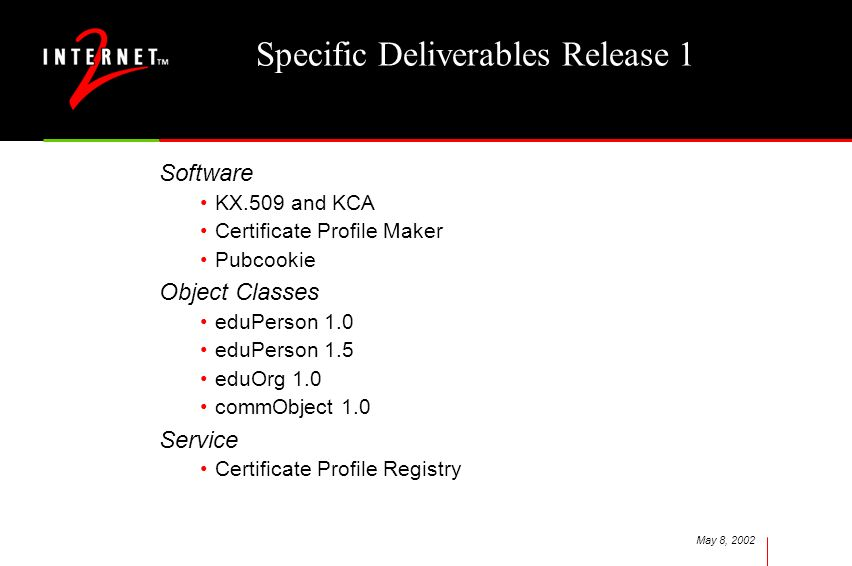 May 8, 2002 Specific Deliverables Release 1 Software KX.509 and KCA Certificate Profile Maker Pubcookie Object Classes eduPerson 1.0 eduPerson 1.5 eduOrg 1.0 commObject 1.0 Service Certificate Profile Registry