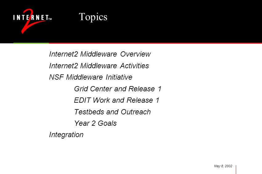 May 8, 2002 Topics Internet2 Middleware Overview Internet2 Middleware Activities NSF Middleware Initiative Grid Center and Release 1 EDIT Work and Rel