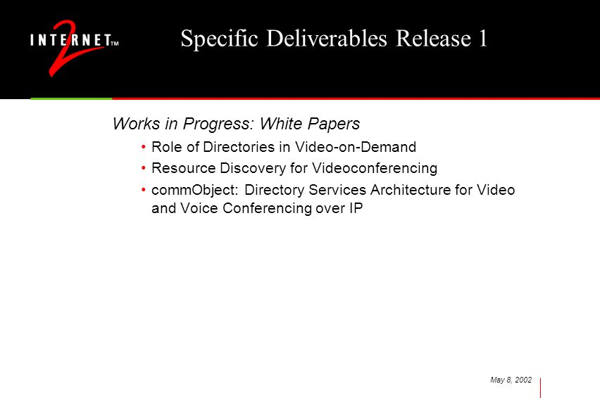 May 8, 2002 Specific Deliverables Release 1 Works in Progress: White Papers Role of Directories in Video-on-Demand Resource Discovery for Videoconfere