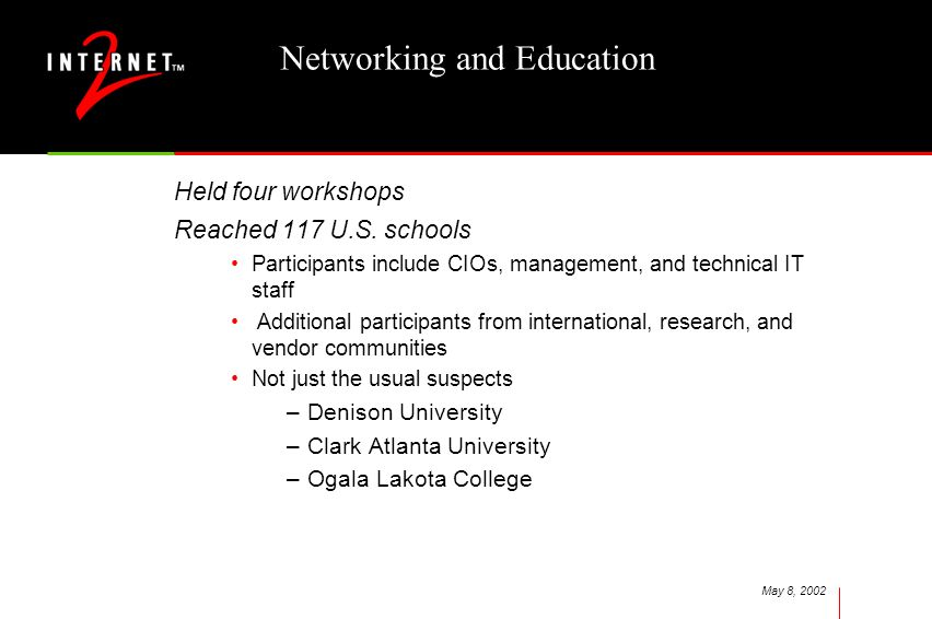 May 8, 2002 Networking and Education Held four workshops Reached 117 U.S.