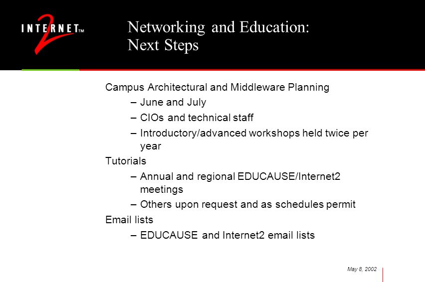 May 8, 2002 Networking and Education: Next Steps Campus Architectural and Middleware Planning –June and July –CIOs and technical staff –Introductory/a