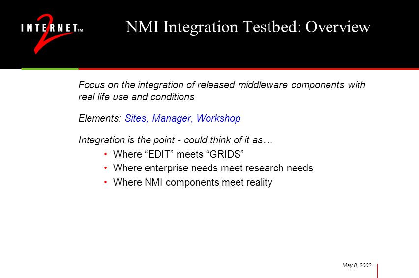 May 8, 2002 NMI Integration Testbed: Overview Focus on the integration of released middleware components with real life use and conditions Elements: Sites, Manager, Workshop Integration is the point - could think of it as… Where EDIT meets GRIDS Where enterprise needs meet research needs Where NMI components meet reality