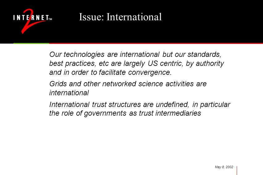 May 8, 2002 Issue: International Our technologies are international but our standards, best practices, etc are largely US centric, by authority and in order to facilitate convergence.