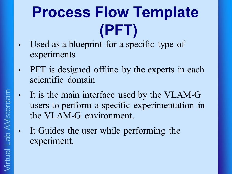 Virtual Lab AMsterdam Process Flow Template (PFT) Used as a blueprint for a specific type of experiments PFT is designed offline by the experts in each scientific domain It is the main interface used by the VLAM-G users to perform a specific experimentation in the VLAM-G environment.