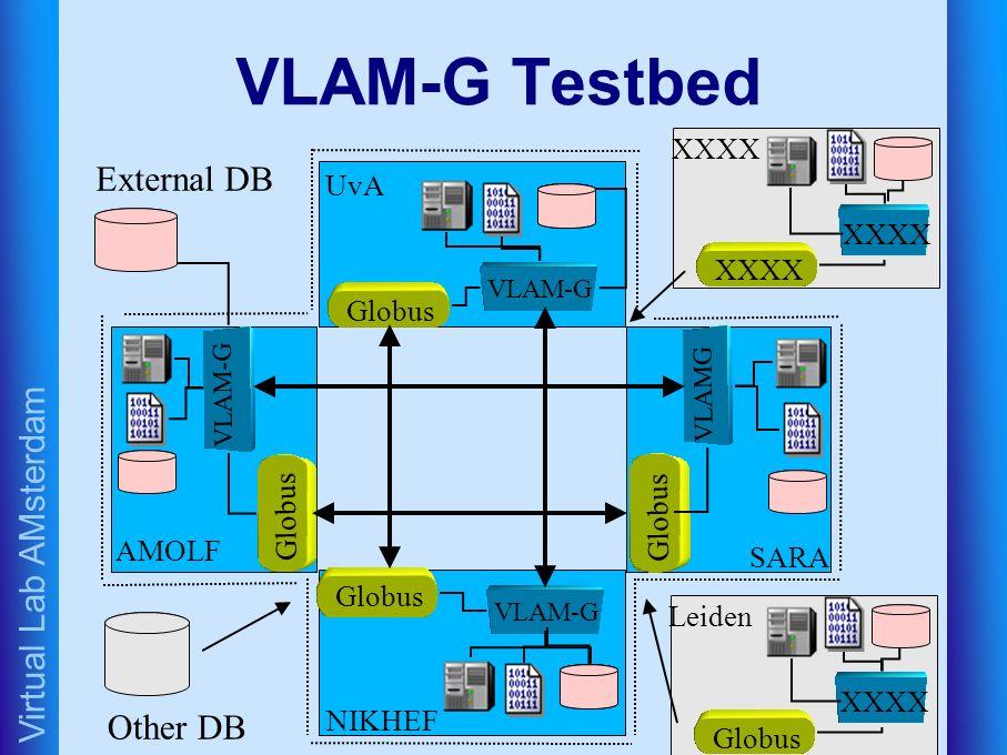 Virtual Lab AMsterdam VLAM-G Testbed VLAM-G Globus NIKHEF VLAM-G Globus UvA Globus VLAM-G AMOLF Globus VLAMG SARA XXXX Globus Leiden Other DB External