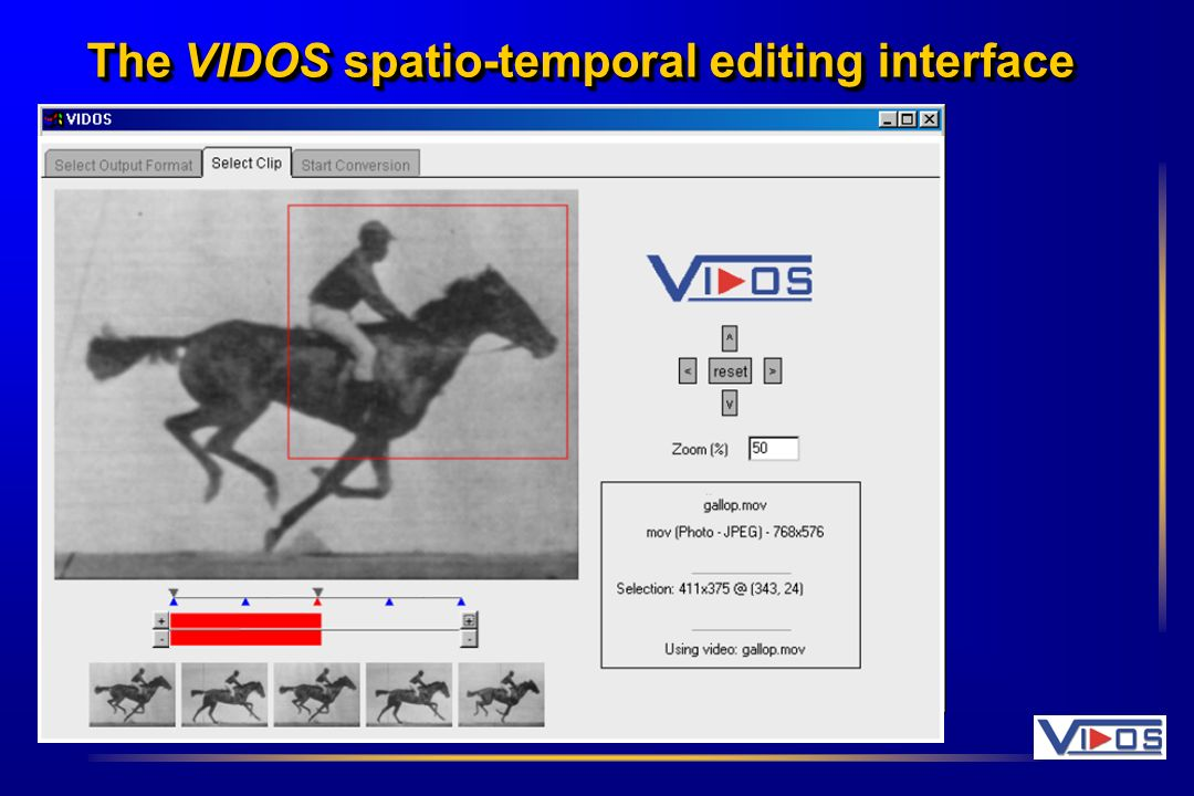 The VIDOS spatio-temporal editing interface