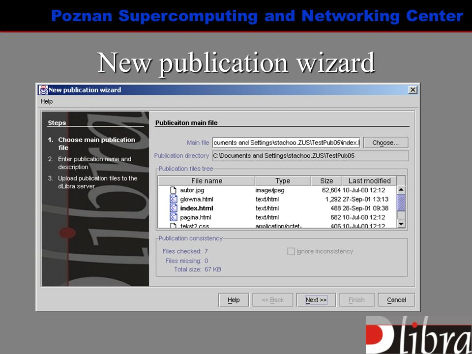 Poznan Supercomputing and Networking Center New publication wizard
