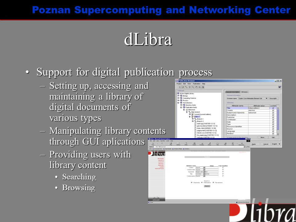 Poznan Supercomputing and Networking Center Electronic publication Electronic publication – separated and well organized unit of content/informationElectronic publication – separated and well organized unit of content/information –Scientific paper, report, book, web site,...
