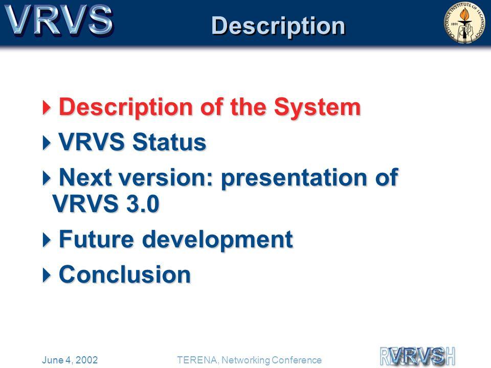 June 4, 2002TERENA, Networking Conference Description Description of the System Description of the System VRVS Status VRVS Status Next version: presentation of VRVS 3.0 Next version: presentation of VRVS 3.0 Future development Future development Conclusion Conclusion