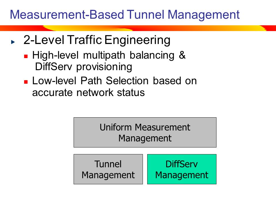 Measurement-Based Tunnel Management 2-Level Traffic Engineering High-level multipath balancing & DiffServ provisioning Low-level Path Selection based on accurate network status Tunnel Management DiffServ Management Uniform Measurement Management Tunnel Management Uniform Measurement Management