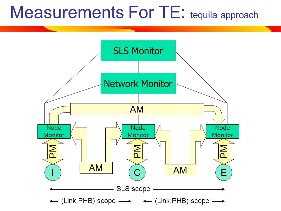 SLS MonitorNetwork Monitor Measurements For TE: tequila approach ICE Node Monitor AM PM AM SLS scope (Link,PHB) scope