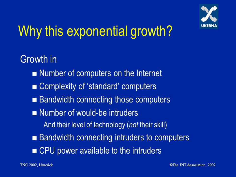 TNC 2002, Limerick©The JNT Association, 2002 Why this exponential growth? Growth in Number of computers on the Internet Complexity of standard compute