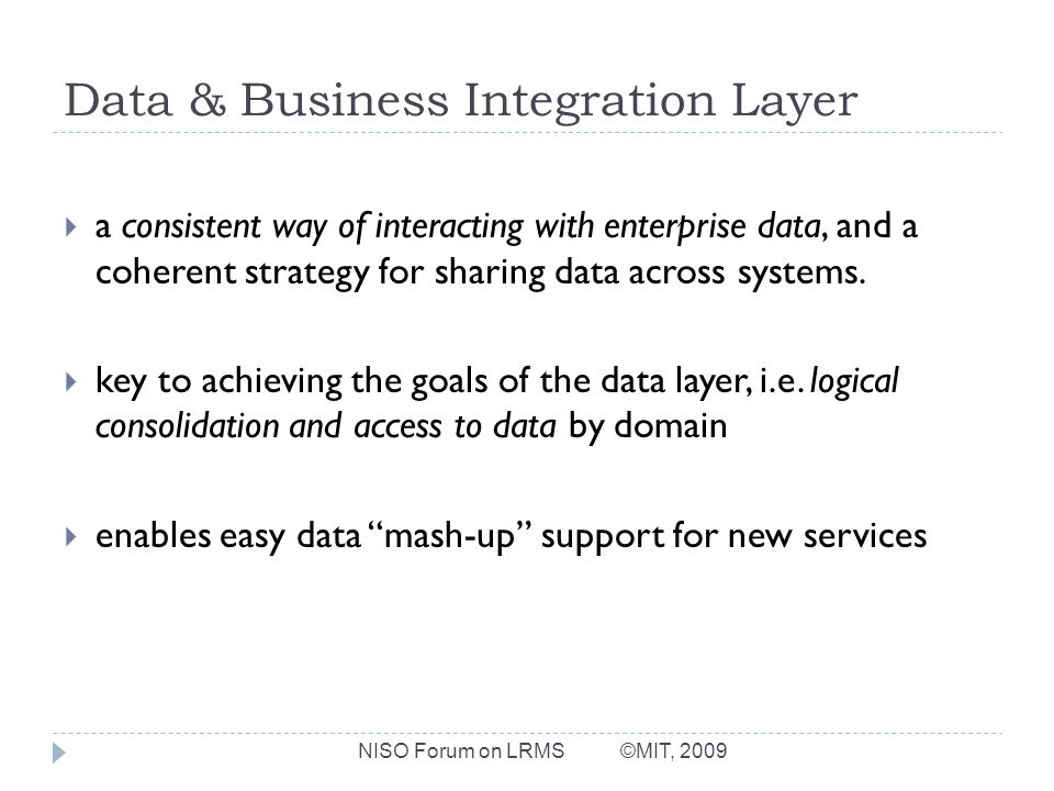Data & Business Integration Layer a consistent way of interacting with enterprise data, and a coherent strategy for sharing data across systems.
