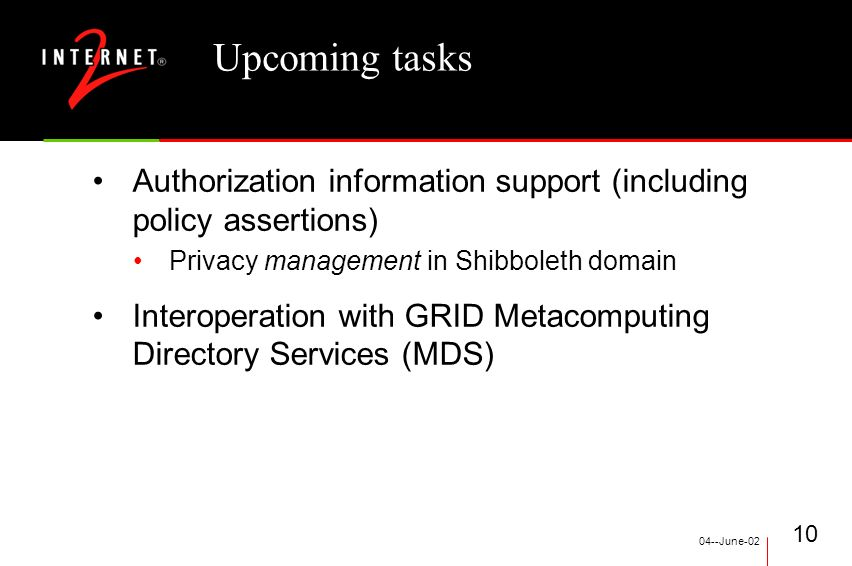 04--June Upcoming tasks Authorization information support (including policy assertions) Privacy management in Shibboleth domain Interoperation with GRID Metacomputing Directory Services (MDS)