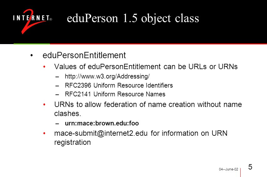 04--June-02 5 eduPerson 1.5 object class eduPersonEntitlement Values of eduPersonEntitlement can be URLs or URNs –  –RFC2396 Uniform Resource Identifiers –RFC2141 Uniform Resource Names URNs to allow federation of name creation without name clashes.