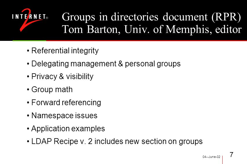 04--June-02 7 Groups in directories document (RPR) Tom Barton, Univ.