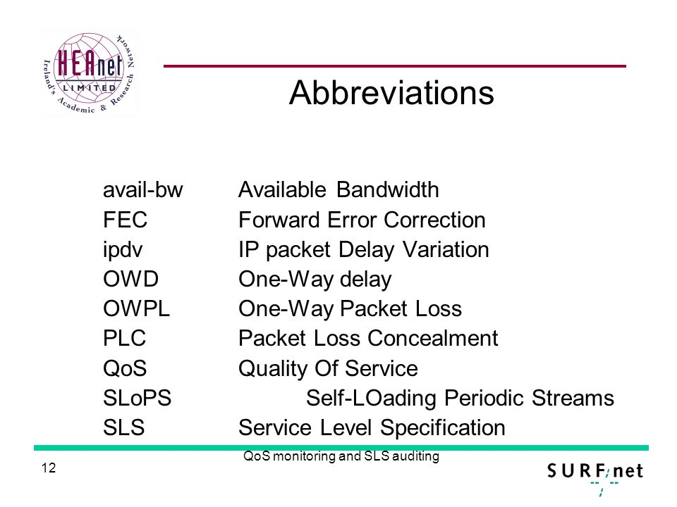 12 QoS monitoring and SLS auditing Abbreviations avail-bw Available Bandwidth FECForward Error Correction ipdvIP packet Delay Variation OWDOne-Way delay OWPLOne-Way Packet Loss PLCPacket Loss Concealment QoSQuality Of Service SLoPSSelf-LOading Periodic Streams SLSService Level Specification