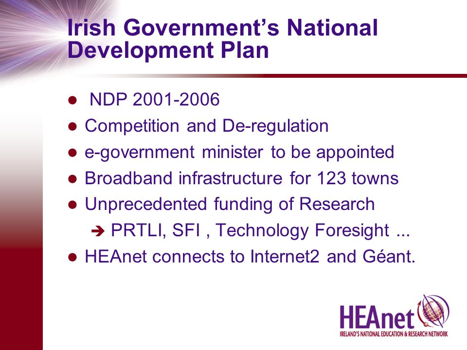 Irish Governments National Development Plan NDP 2001-2006 Competition and De-regulation e-government minister to be appointed Broadband infrastructure