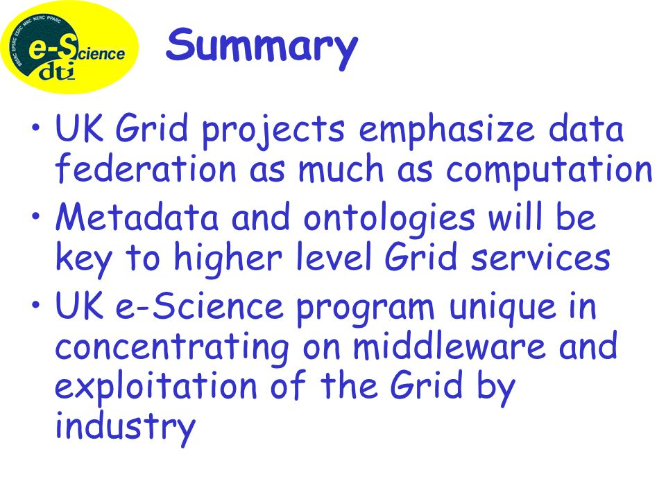 UK Technical Reports Globus and Associated Grid Middleware Databases and the Grid Towards the Semantic Grid The UK e-Science Programme Available from National e-Science Centre in Edinburgh www.nesc.ac.uk