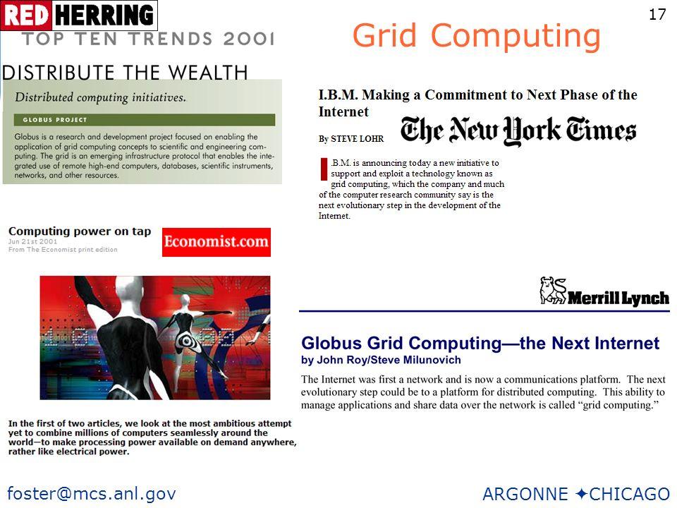 17 foster@mcs.anl.gov ARGONNE CHICAGO Grid Computing