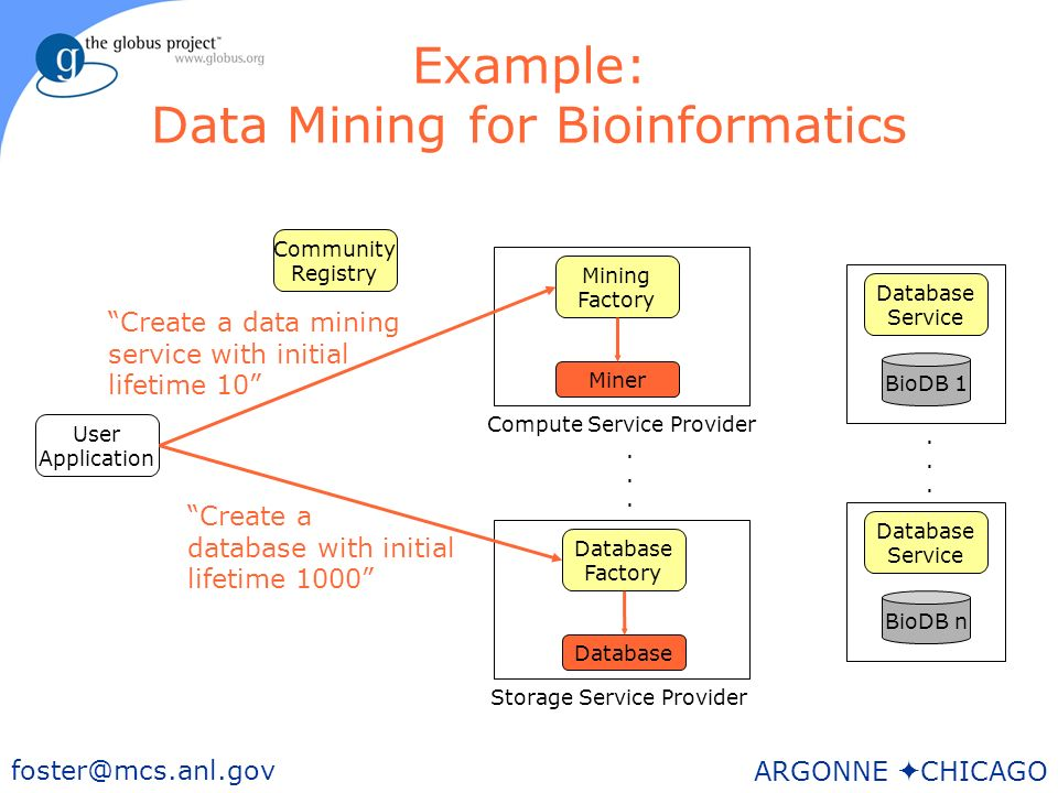 29 foster@mcs.anl.gov ARGONNE CHICAGO Example: Data Mining for Bioinformatics User Application BioDB n Storage Service Provider Database Factory Mining Factory Community Registry Database Service BioDB 1 Database Service......
