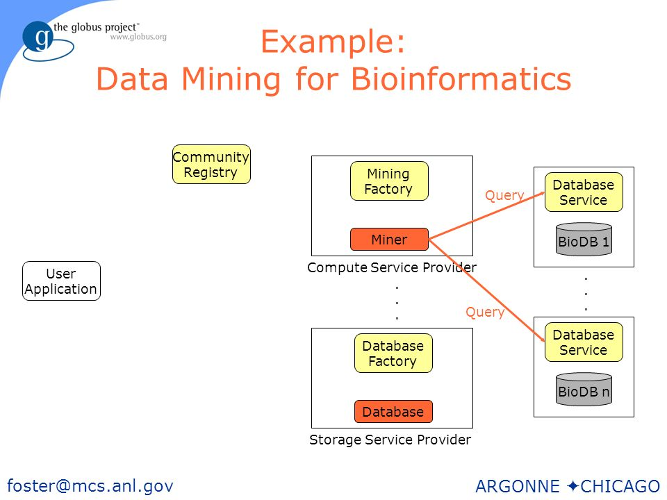 30 foster@mcs.anl.gov ARGONNE CHICAGO Example: Data Mining for Bioinformatics User Application BioDB n Storage Service Provider Database Factory Mining Factory Community Registry Database Service BioDB 1 Database Service......