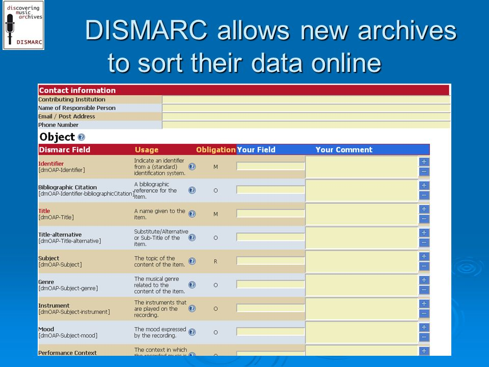 DISMARC allows new archives to sort their data online DISMARC allows new archives to sort their data online