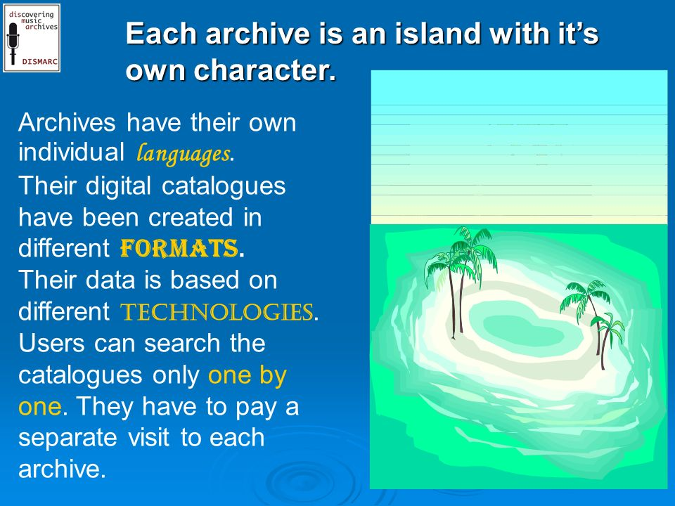 Each archive is an island with its own character. Archives have their own individual languages.