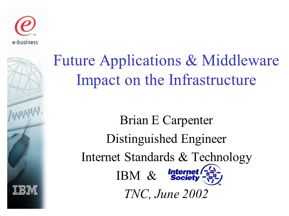 Future Applications & Middleware Impact on the Infrastructure Brian E Carpenter Distinguished Engineer Internet Standards & Technology IBM & TNC, June 2002