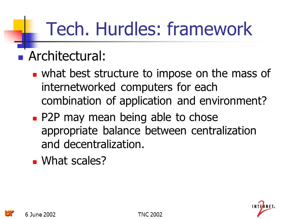 TNC 20026 June 2002 Architectural: what best structure to impose on the mass of internetworked computers for each combination of application and environment.