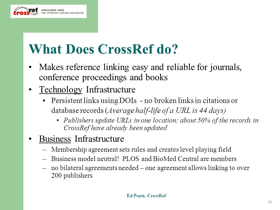 11 Ed Pentz, CrossRef What Does CrossRef do? Makes reference linking easy and reliable for journals, conference proceedings and books Technology Infra