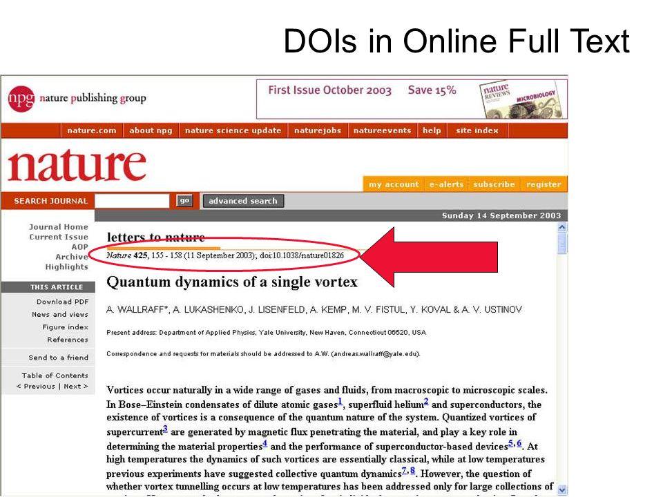 DOIs in Online Full Text