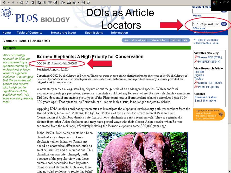 16 Ed Pentz, CrossRef DOIs as Article Locators