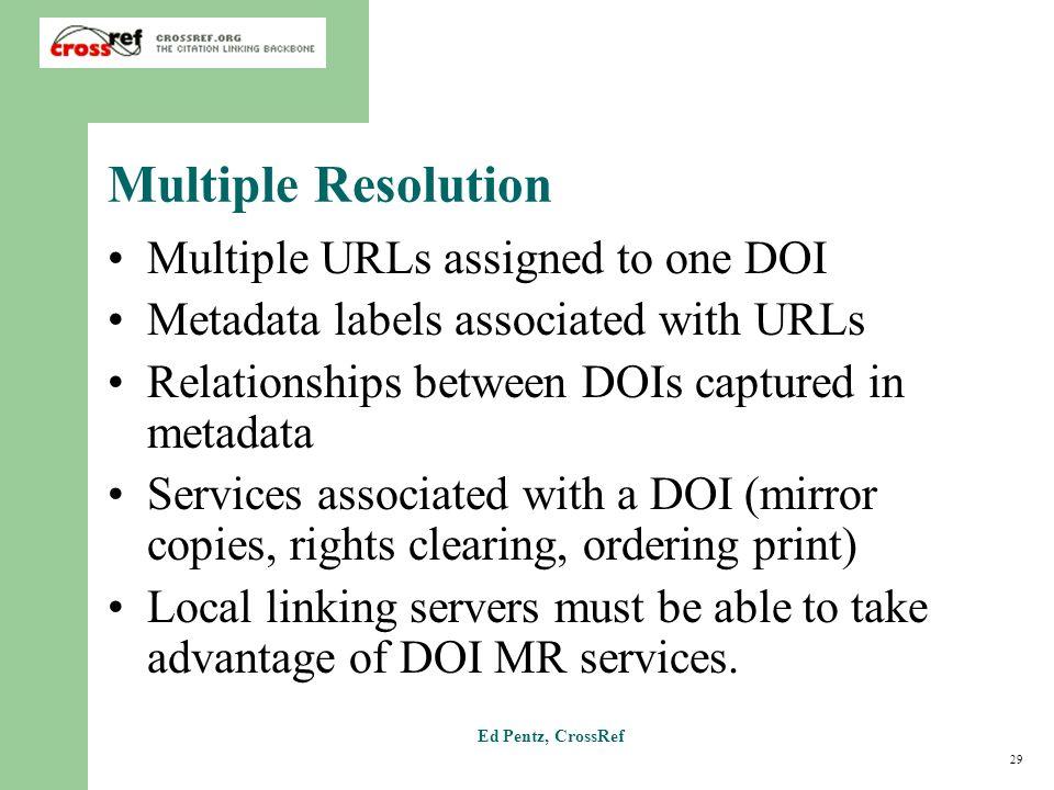29 Ed Pentz, CrossRef Multiple Resolution Multiple URLs assigned to one DOI Metadata labels associated with URLs Relationships between DOIs captured i