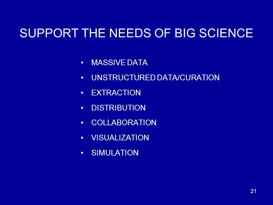 21 SUPPORT THE NEEDS OF BIG SCIENCE MASSIVE DATA UNSTRUCTURED DATA/CURATION EXTRACTION DISTRIBUTION COLLABORATION VISUALIZATION SIMULATION