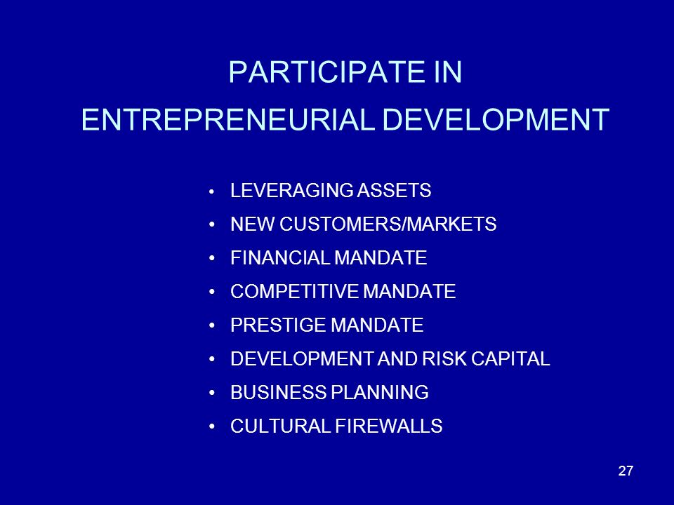 27 PARTICIPATE IN ENTREPRENEURIAL DEVELOPMENT LEVERAGING ASSETS NEW CUSTOMERS/MARKETS FINANCIAL MANDATE COMPETITIVE MANDATE PRESTIGE MANDATE DEVELOPMENT AND RISK CAPITAL BUSINESS PLANNING CULTURAL FIREWALLS