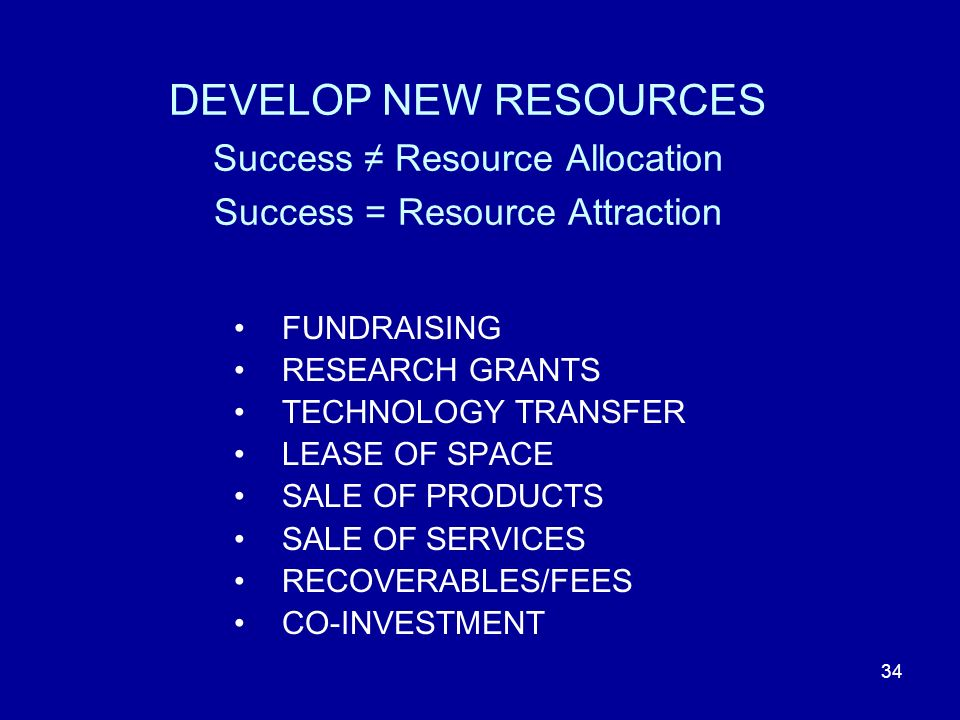 34 DEVELOP NEW RESOURCES Success Resource Allocation Success = Resource Attraction FUNDRAISING RESEARCH GRANTS TECHNOLOGY TRANSFER LEASE OF SPACE SALE OF PRODUCTS SALE OF SERVICES RECOVERABLES/FEES CO-INVESTMENT
